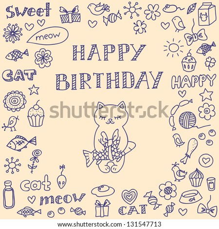 Doodle Birthday Card Cute Cat Vector 131547713 Shutterstock – Doodle Birthday Card