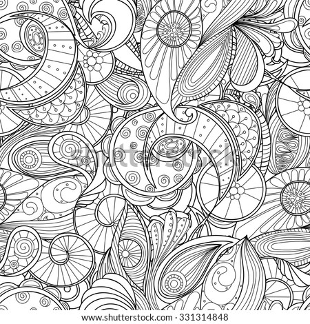 Doodle black and white abstract hand-drawn background. Wavy zentangle style seamless pattern. - stock vector