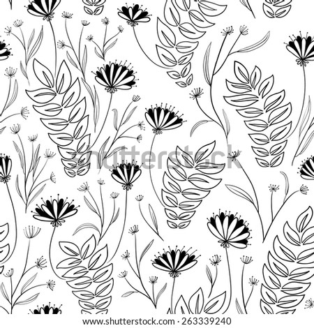 Doodle black and white floral seamless pattern - stock vector