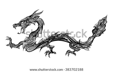 Doodle Black Dragon Isolated on White Background - stock vector