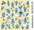 Doodle blue birds. Vector illustration. - stock vector