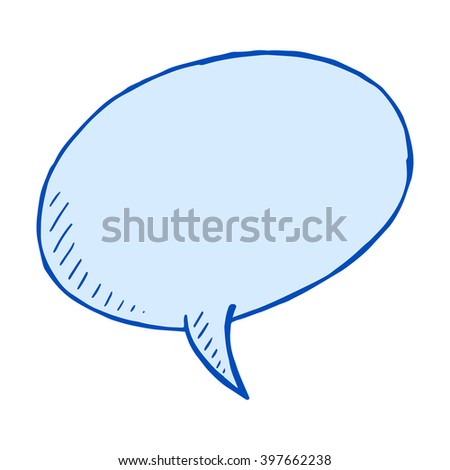 Doodle blue bubble illustration, vector isolated element for design - stock vector