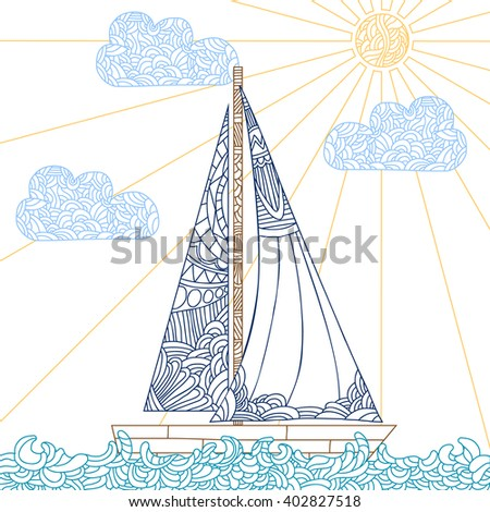 Doodle boat floating on the waves. Can be used for coloring book page design, anti stress hobby for adult. Vector illustration with color outline. - stock vector