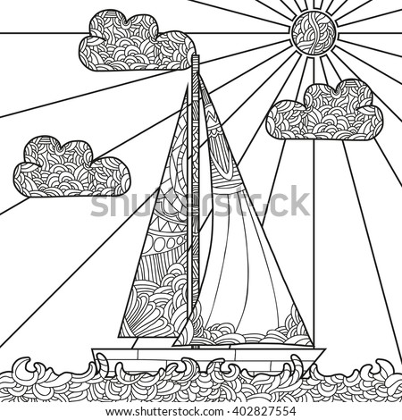 Doodle boat floating on the waves. Can be used for coloring book page design, anti stress hobby for adult. Vector black and white illustration. - stock vector