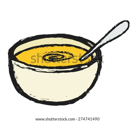 doodle bowl of soup with spoon inside, vector illustration - stock vector