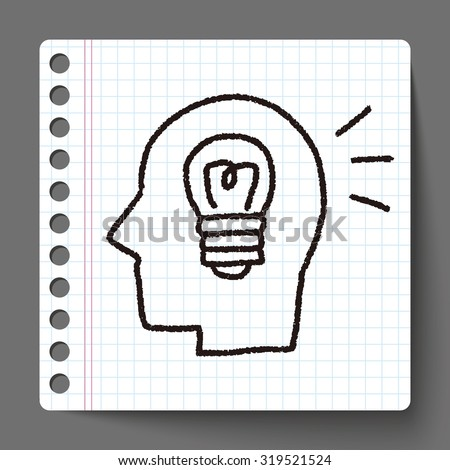 doodle brain idea - stock vector