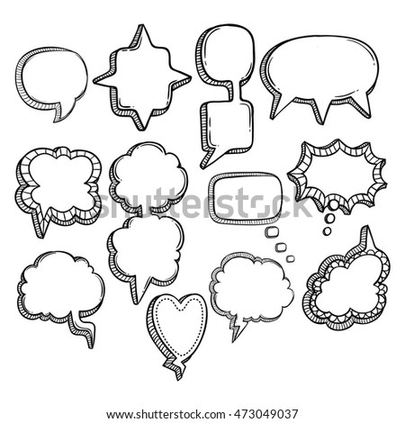 doodle bubble chat collection using doodle or hand drawing style