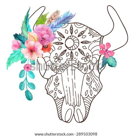 Doodle bull skull with watercolor flowers and feathers over white, Vector - stock vector