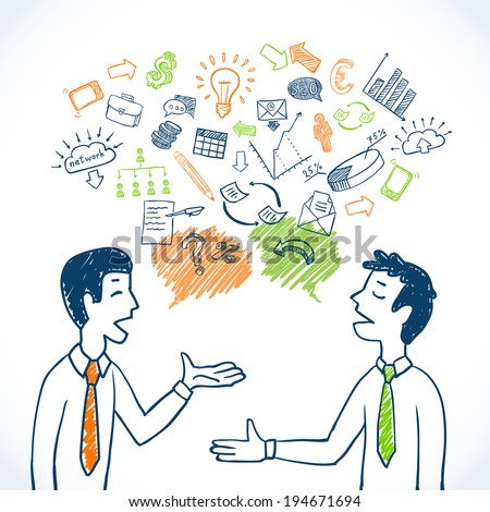 Doodle business conversation sketch concept with businessmen chatting and finance icons isolated vector illustration - stock vector
