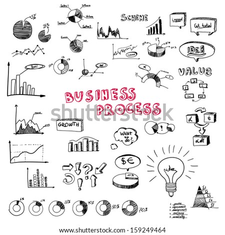 Doodle business diagrams vector illustration set on white - stock vector
