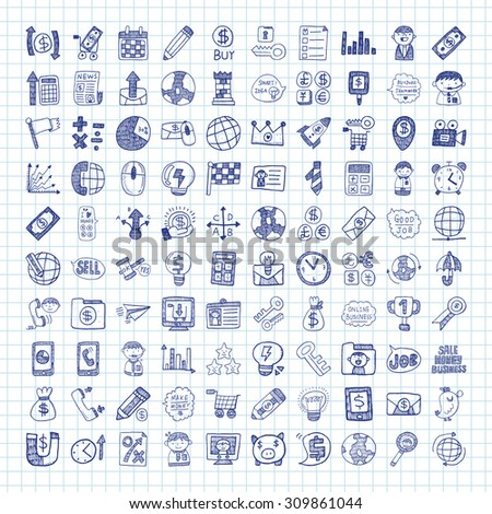 doodle business icon - stock vector