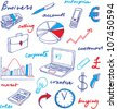 Doodle Business icons and words - stock vector