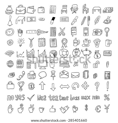 Doodle business icons set. Black Hand drawn icons on white background - stock vector