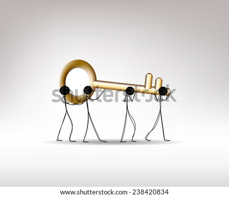 Doodle business man carrying large golden key. Business concept. - stock vector