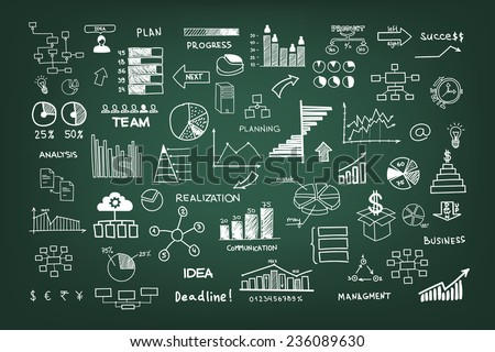 Doodle business management infographics elements - stock vector