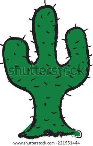 doodle cactus vector - stock vector