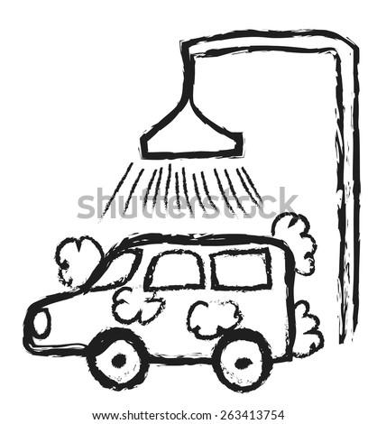 doodle Car Wash, vector illustration - stock vector