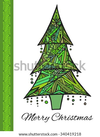 Doodle card with green Christmas tree and greetings. Boho pattern - stock vector