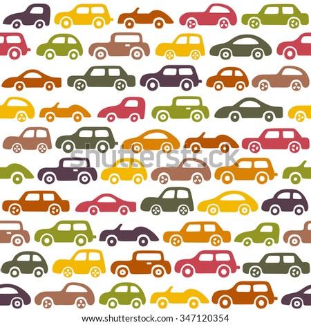 Doodle cars background. Seamless baby boy pattern in vector. Texture for wallpaper, fills, web page background. - stock vector