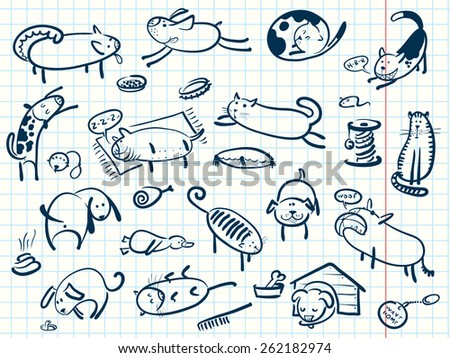 Doodle cartoon cats and dogs set