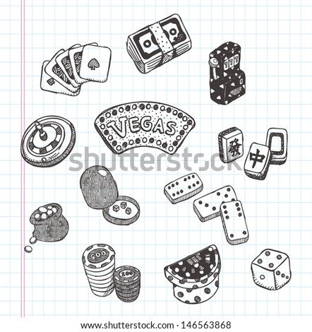 doodle casino icons - stock vector