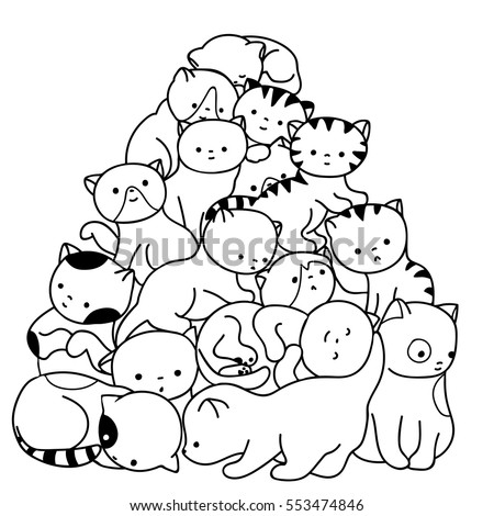Doodle Cats Pile Black And White Cute Background Great For Coloring Book Wrapping