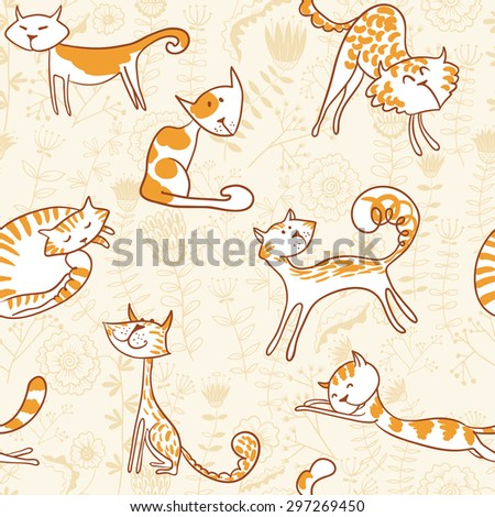 Doodle cats seamless background - stock vector