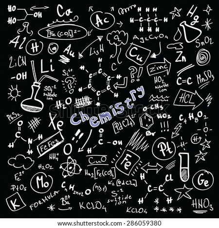 Doodle Chemistry formulas isolated on black background,  vector illustration design elements - stock vector