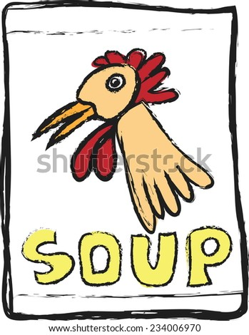 doodle Chicken Soup,  vector design element - stock vector