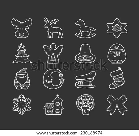 doodle christmas icon set - stock vector