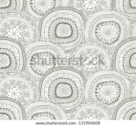 Doodle circles seamless pattern. - stock vector