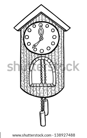 doodle clock vector illustration - stock vector