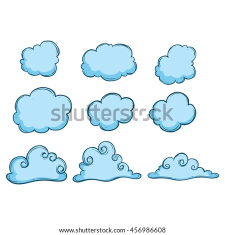 Doodle clouds with blue color and outline on white background - stock vector
