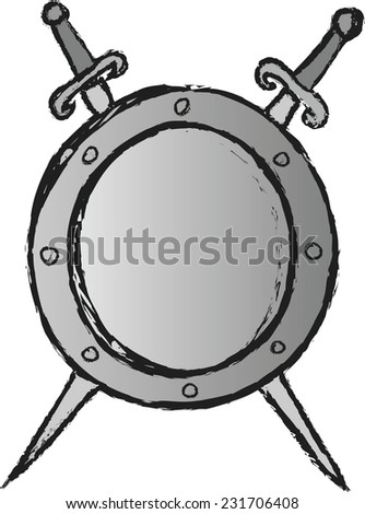 doodle coat of arms medieval metal knight shield with crossed swords  - stock vector