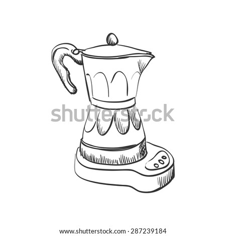 doodle coffee maker, hand drawing style, excellent vector illustration, EPS 10 - stock vector