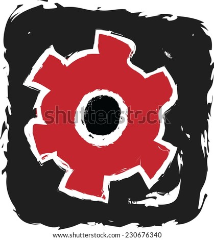 doodle cog settings icon symbol - stock vector