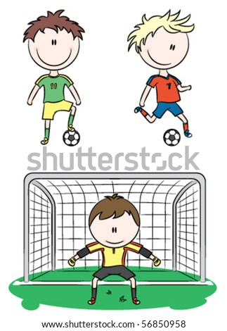 Doodle collection of cheerful soccer players - stock vector