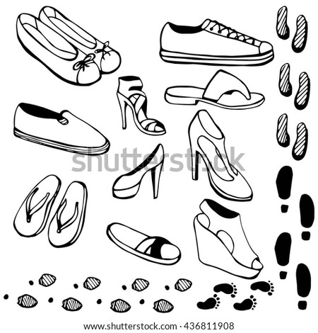 Doodle collection of women's shoes. sports, slippers, sandals, shoes with heels, traces. Black and white drawing - stock vector