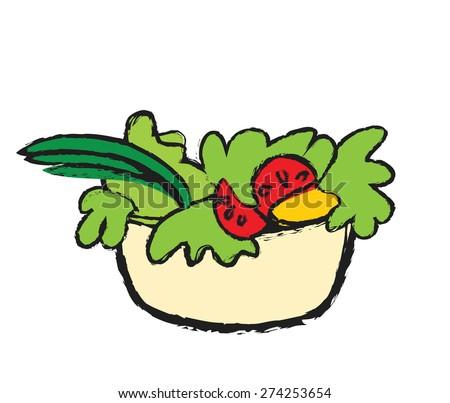 doodle color salad bowl, vector illustration - stock vector