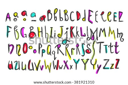 Doodle colorful kids alphabet, vector hand drawn letters and figures decorated with colored floral and ethnic style elements. For kids books, posters, postcard typography - stock vector