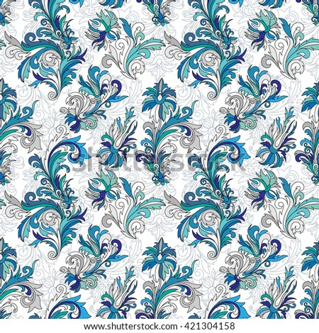 Doodle colorful pastel floral hand draw seamless pattern. Vector illustration. Ornate flowers ornament. Blue gray tone colors on white background. - stock vector