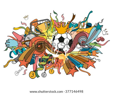 Doodle colorful soccer composition with sport objects and decoration elements. Vector illustration. Hand drawn outline style for banner, poster, advertisement - stock vector
