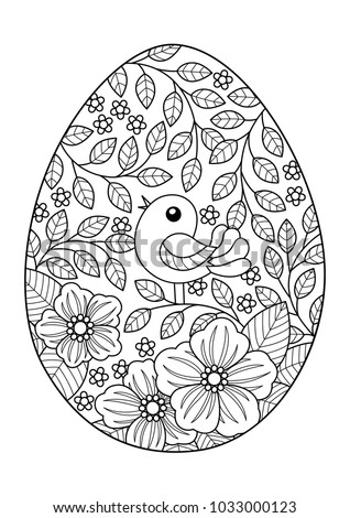 Doodle Coloring Book Page Easter Egg With Bird And Flowers Anti Stress For