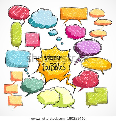 Doodle comic chat bubbles collection isolated vector illustration - stock vector