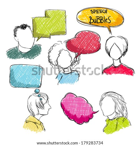 Doodle comic speech bubbles with men and women isolated vector illustration - stock vector