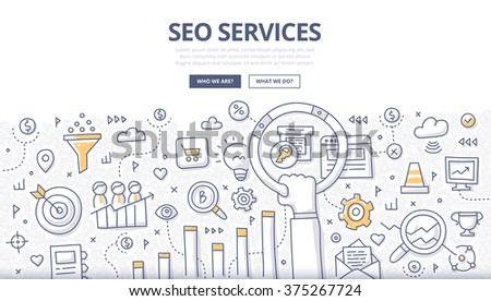 Doodle concept of seo technology, web traffic optimization, conversions marketing - stock vector