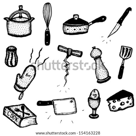 Doodle Cook Icons Set/ Illustration of a set of doodle hand sketched with pencil cooking icons, kitchenware, food and equipment - stock vector