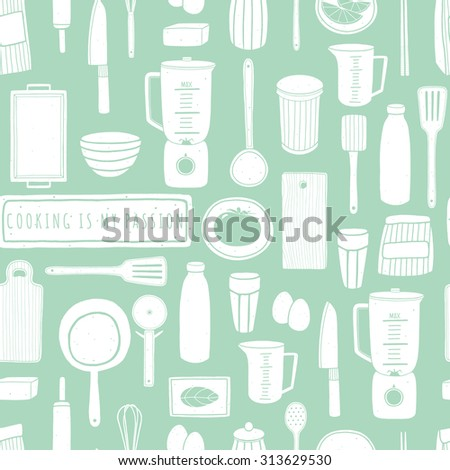 Doodle cooking background. Vector seamless pattern with kitchen tools. For kitchen fabrics, paper napkins, wallpapers. Pattern is cropped with clipping mask so you can release it and easily edit - stock vector