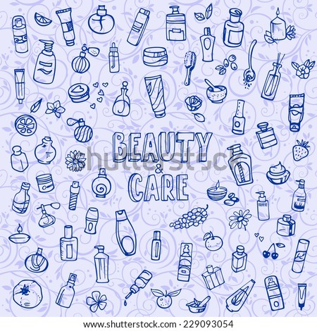 doodle cosmetics and self-care icons, vector illustration - stock vector