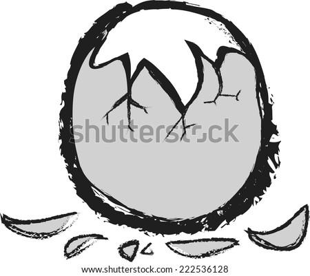 doodle cracked breakfast egg - stock vector